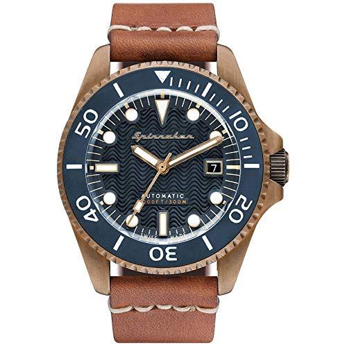 SPINNAKER Tesei Herren-Armbanduhr 42mm Armband Leder Automatik SP-5060-03