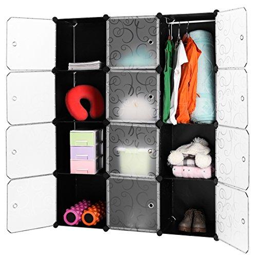LANGRIA 12 Cubi Armadio Modulare, Scaffale Modulare, Armadio di Stoccaggio, per Abbigliamento,...