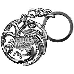 Noble Collection–El Trono di Spade Color llavero Targaryen, Gris metálico