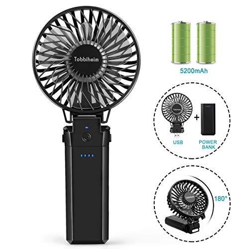 Tobbiheim Handventilator USB Mini Lüfter, 5 Windgeschwindigkeit Ventilator mit 5200 mAh Akku bis zu 20 Std. Faltbarer Tischventilator, als Power Bank Aufladen, für Büro, Haus, Reise, Camping (Schwarz)