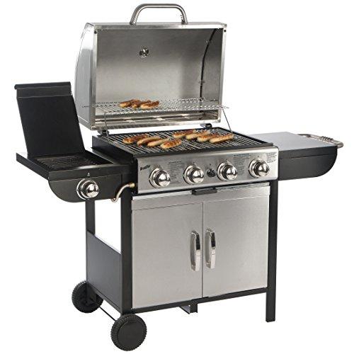 Bruzzzler Barbecue à gaz 4+1, barbecue chariot, 4brûleurs principaux et 1réchaud latéral, Noir