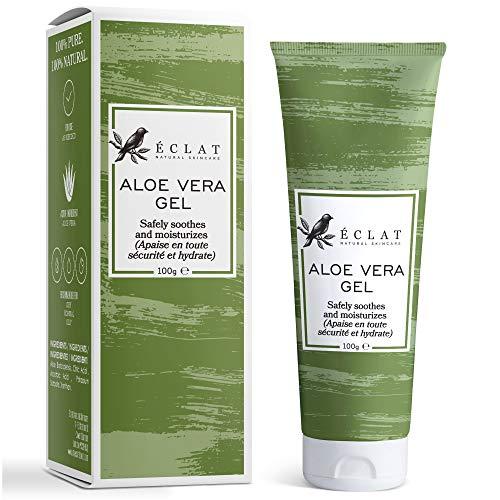 100% Gel Aloe Veral Bio Eclat - Gel Aloe Vera Naturale Viso, Corpo e Capelli con Vitamina C e Olio di Aloe Vera Barbadensis in un Gel di Aloe Vera Puro Assorbimento Rapido