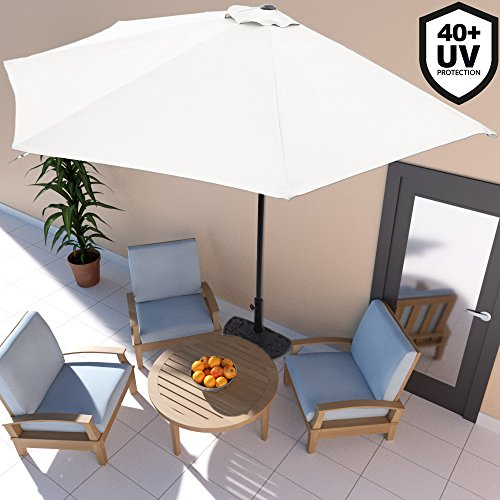 The Deuba Half Parasol Umbrella can be purchased in two colours, beige and charcoal. This affordable parasol is a half round and covers an area of 3m2 adequate for small outdoor spaces. In the case you were looking for an affordable small parasol, this is definitely a unit that would work perfectly.