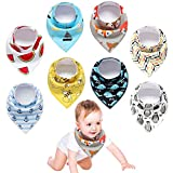 Yetech Bavoir Bandana Bébé Unisexe Bavette 100% coton des Bébé Bavoir Triangle Bavette pour Bébé Bandana Enfant Bébé Fille et Garçon (pack de 8)