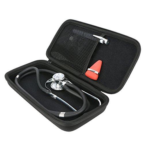 Khanka Stethoskop tasche, für Littmann 2201 3M Classic II S.E./ Doppelschlauch Rappaport Stethoskop / MDF Acoustica luxuriöses, leichtes Zweikopf-Stethoskop- Schwarz