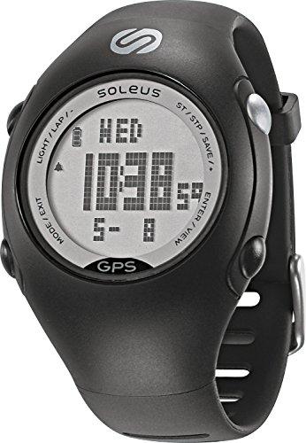 Soleus GPS - Mini reloj de corredor con monitor de actividad física y de salud, negro/plata
