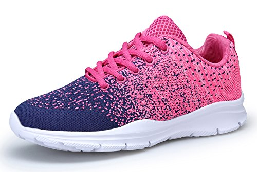 KOUDYEN Damen Laufschuhe Atmungsaktiv Turnschuhe Schnürer Sportschuhe Sneaker (EU39, Pink Blau)