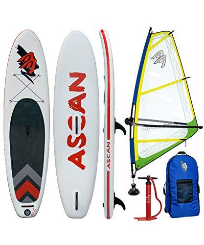 Ascan Wind iSUP Board 10.6 - Tabla de Windsurf Hinchable con Aleta + Kit de reparación + Juego Completo de Surf de Viento Amarillo/Verde, 4,0qm