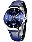 Mens Watches Men Waterproof Sport Chronograph Date Calendar Luxury Business Analogue Quartz Wrist Watch Fashion Casual Dress Design Blue Leather Watches for Men