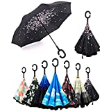 Parapluie Inversé,Anti-UV Double Couche Coupe-Vent,poignée en forme C