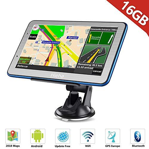 """HiEHA 7\"""" Zoll Navi Navigation, GPS Navigationsgerät für LKW PKW Bluetooth Europe Traffic Android 16GB 512MB Blitzerwarnungen POI Fahrspur- und Parkassistent 2018 lebenslang kostenlose Karte-Updates"""