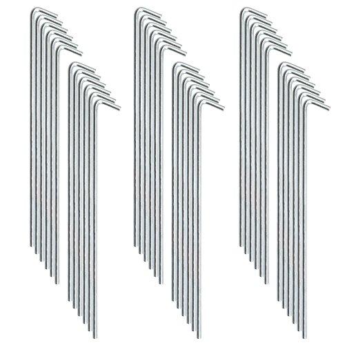 com-four® 36x Zelt-Heringe aus verzinktem Stahl, geschwungen, 23 cm lang, Stärke 7 mm (Stahl - 36 Stück)