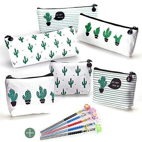 Favengo, 6 astucci in tela per matite con cactus, portamonete, borsetta per trucchi, cancelleria,...