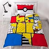 Character World Pokemon Pikachu - Funda de edredón para Cama Individual, Reversible, diseño de Pokémon de Dos Caras con Funda de Almohada a Juego, poliéster