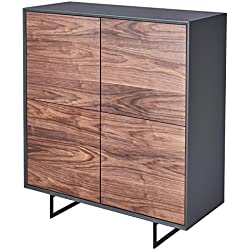 CAGUSTO® Highboard BORGUND Hochschrank in Nussbaum Holz und anthrazit mit schwarzen Metall-Füßen, 110x45x125 auch als Set mit Lowboard, Sideboard und Couchtisch erhältlich!