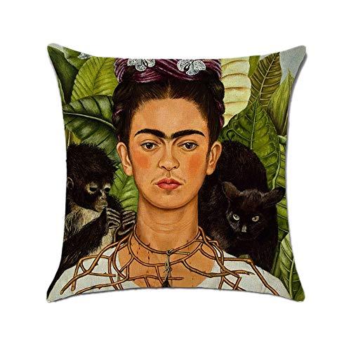 FEIRAN 3D Impreso Frida Kahlo Autorretrato Funda de Almohada de Lino Funda de cojín 05 45X45cm