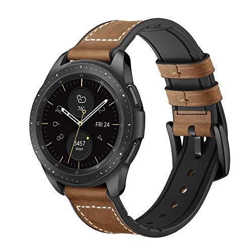 YOOSIDE Cinturino per Samsung Galaxy Watch 42mm/Galaxy Watch Active 40mm, 20mm Cinturino di Ricambio Ibrido in Vera Pelle e Silicone con Fibbia in Acciaio Inossidabile (Marrone)