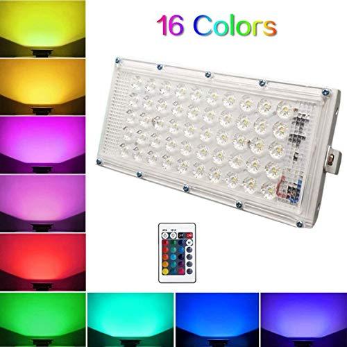 Desidiya® RGB LED Flood Light Multi Color with Remote Waterproof IP66 LED Flood Light (50 Watt) (Pack of 1)