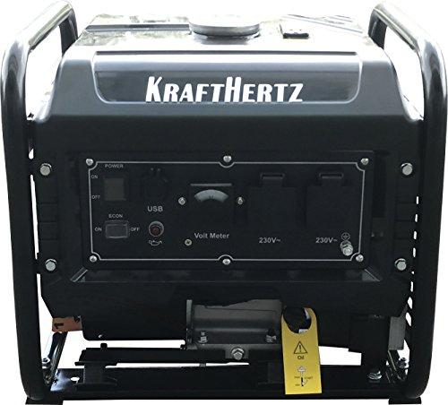 KRAFTHERTZ® Planta eléctrica 3300 vatios, 1 fase, puertos USB, inteligente estación de carga eléctrica.
