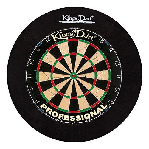 Kings Dart Dart-Set Profi | Turnier-Dartscheibe + Dart-Surround | Sisalborsten, Spider-Feldbegrenzung | Sicherheit für Wand und Darts | Für Soft- und Steeldarts | Markenqualität