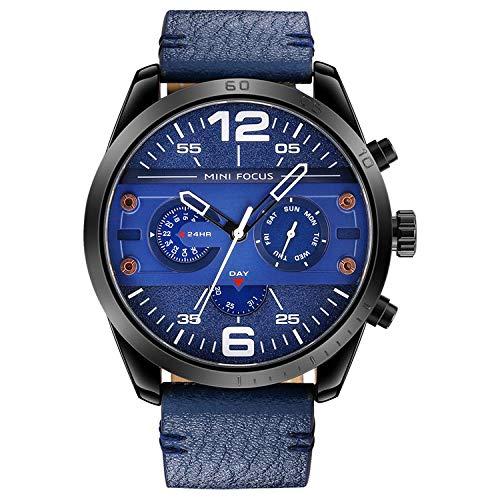 Orologio Uomo,Orologio Al Quarzo A 24 Pin A Sei-Pin Di Moda Stile Meccanico Di Moda Guscio Nero Blu