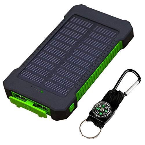 Kurphy Banco de energía, 10000MAH Dual USB Banco de energía Solar Tamaño portátil Cargador de batería Externo a Prueba de Golpes a Prueba de Agua para teléfonos móviles