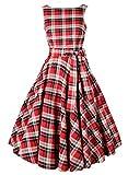 Sparkling YXB Womens Retro Rockabilly Sleeveless Vintage Bow Tartan Check Swing Party Tea Dress Red XX-Large