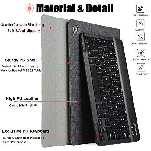 KILISON Huawei MediaPad M5 10.8 [QWERTZ Clavier] Clavier Étui Coque, Détachable Wireless Clavier Stand avec PU Case Bluetooth Housse pour Hu... 26