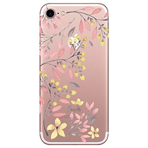 Yimier iPhone 7/8 Hülle, Transparentes TPU Case Silikon der Macaron Tiere Backcover Handyhülle Kreatives Design Wolf Muster zurück für Apple iPhone 8/7 Case Cover (Dämmerungsbaum, iPhone 8 4.7)