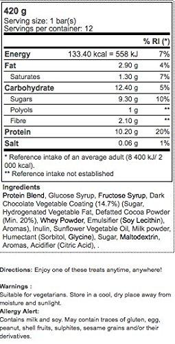 Xcore Protein Snack Protein Bar 12 x 35g - Cioccolato: Whey concentrate di qualità - 27% di proteine, pochi carboidrati e solo 138 calorie - Le più gustose barrette gourmet