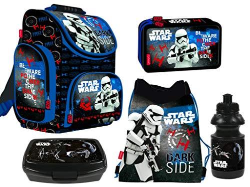 Star Wars 5-Teile Schulranzenset Schulranzen, Federmäppchen 2-Fach gefüllt, Turnsack, Lunchbox, Trinkflasche Jungen
