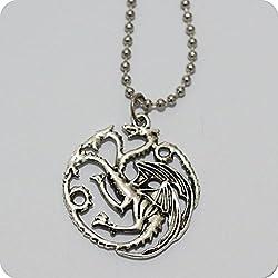 Game Of Thrones–Casa de Targaryen colgante de tono plateado collar–Daenerys dragones