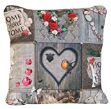 Gris funda para cojín Sweet Home decorativo almohada con manta rosa de rosas rojas