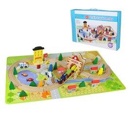 Akokie Trenino Legno Pista Ferrovia Gioco in Legno Rotaie Blocchi Forme Geometriche per Bambini 3 4