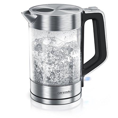 Arendo - Glas Wasserkocher Edelstahl - 1,7 Liter - 2200W - Cool Touch Griff - One Touch Verschluss - automatische Abschaltung - integrierte Kabelführung - Überhitzungsschutz
