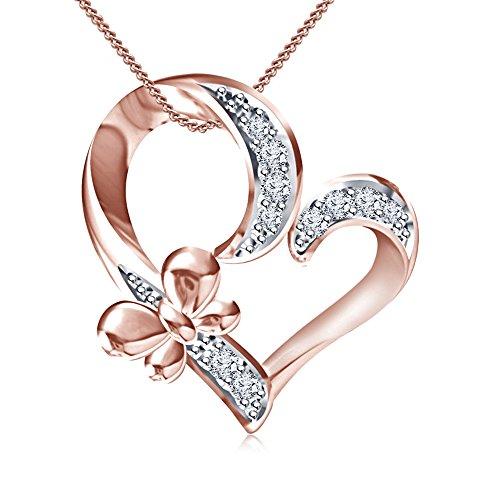 Lilu Jewels diseño Awesome Jewelry Redondo Corte Blanco CZ, plata de ley 925, 14K bañado en oro rosa con forma de corazón forma de mariposa de la mujer colgante
