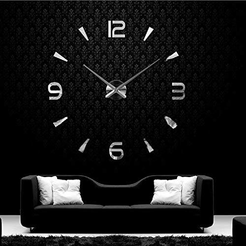 UBAYMAX Orologio da Parete Adesivo,3D Mirror Modern Wall Clock,DIY Large Watch Removibili per Camera/Home Decoration (Argento-2)
