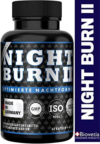 NIGHT BURN 2 Burner Kapseln für die Nacht, Stoffwechsel Multisupport im Schlaf, die Nummer 1 Rezeptur aus den USA, Made in Germany nach ISO und HACCP, 60 Kapseln