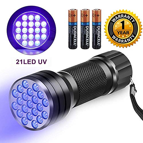Techzere® 21 LED UV Ultraviolet Portable 395-400mm Torch Light Flashlight Lamp (3 AAA Duracell Battery Included!)