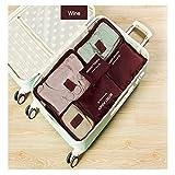 Custodia da viaggio organizer clothes Storage Bags PACKING Cube 6pcs un set, Wine, as description