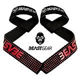 Correas Levantamiento de Pesas de Beast Gear - Correas Profesionales Acolchadas con Sujeción de Gel
