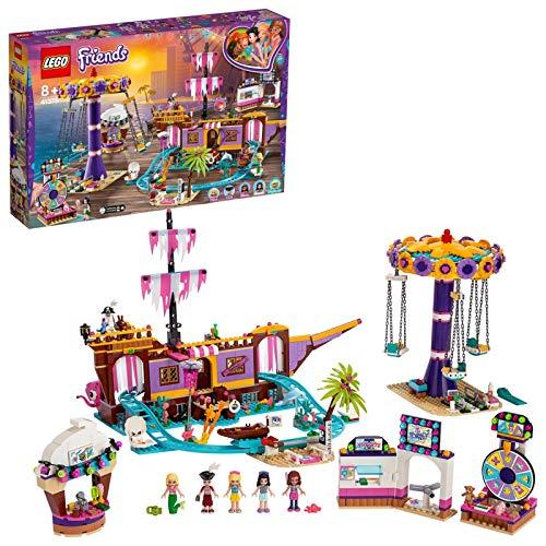 LEGO Friends - Muelle de la Diversión de Heartlake City Nuevo set de construcción con Barco Pirata de juguete y Numerosas Atracciones, incluye Mini muñecas (41375)