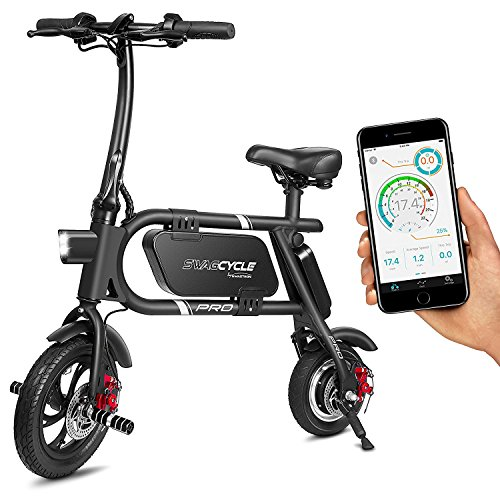 """Swagtron 38026-2 12T SwagCycle Pro Folding Pedal Free and App Enabled Electric Bike with USB Port 12"""" Frame (Black)"""