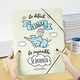 La Mente es Maravillosa - Carpeta con frase y dibujo divertido para regalo amiga (Diseño CERDIFANTE)