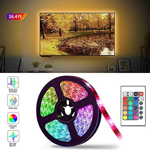 ZOYJITU striscia a LED 5M RGB luci led striscia 16 colori e 4 modalità led music retroilluminato 24...