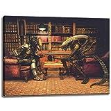 Alien vs. Picture scacchi Predator su tela Dimensioni: 80 cm x 60 cm. Stampa artistica di elevata qualità come un murale. Più economico di un dipinto ad olio! ATTENZIONE! NO Poster