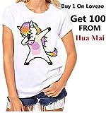 Bekleidung Tops Loveso Sommerkleider Damen Mode Jung Nettes Kühles Einhorn Unicorn Muster Kurzschluss Hülsen Weiß Baumwolle T-Shirt Top Bluse ((Größe):38 (L), Weiß)