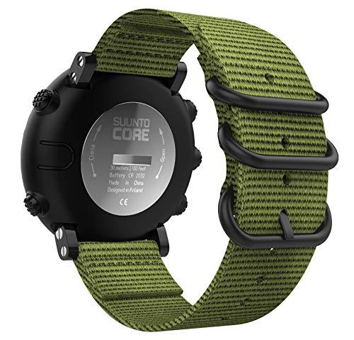 MoKo Suunto Core Cinturino, Morbido Braccialetto Regolabile in Nylon + Connettore Metallico con Fibbia Classica per Suunto Core - Esercito Verde