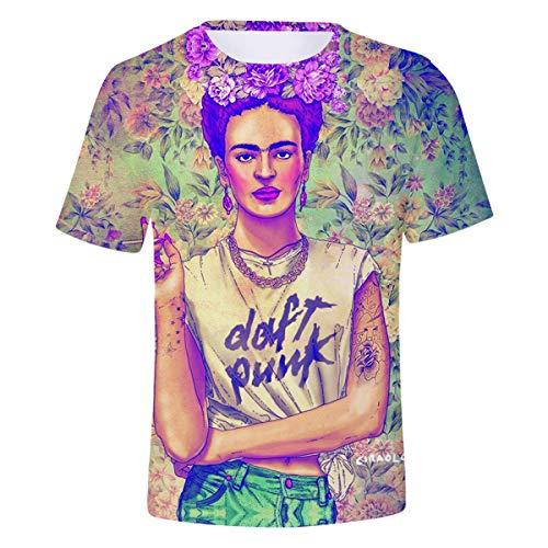 Camiseta Divertida de Dibujos Animados para Mujer Camiseta Cuello Redondo 3D Unisex Frida Kahlo Camiseta Tops ~| (Color : Green, Size : XL)