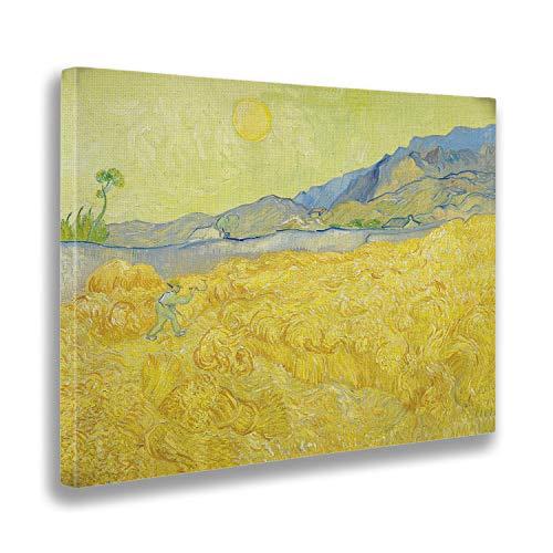 Giallobus - Cuadro - Vincent Van Gogh - Campo de Trigo con segadora - Estampado en Lienzo - Listo para Colgar - Varios tamaños 100x70 cm
